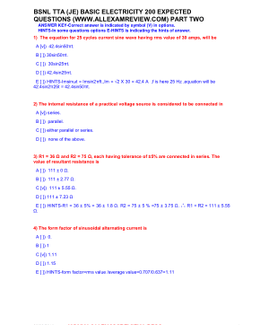 BSNL TTA (JE) BASIC ELECTRICITY 200 EXPECTED QUESTIONS PART TWO