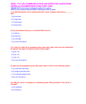 BSNL TTA (JE) COMMUNICATION 200 EXPECTED QUESTIONS PART ONE