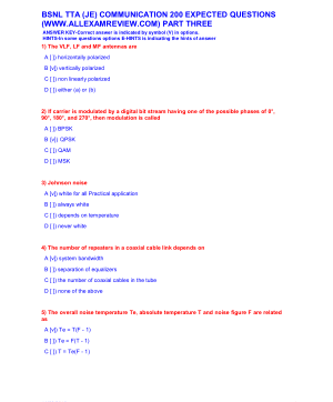 BSNL TTA (JE) COMMUNICATION 200 EXPECTED QUESTIONS PART THREE