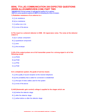 BSNL TTA (JE) COMMUNICATION 200 EXPECTED QUESTIONS PART TWO