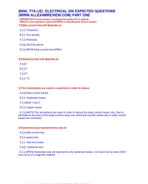 BSNL TTA (JE) ELECTRICAL 200 EXPECTED QUESTIONS PART ONE
