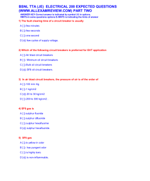 BSNL TTA (JE) ELECTRICAL 200 EXPECTED QUESTIONS PART TWO