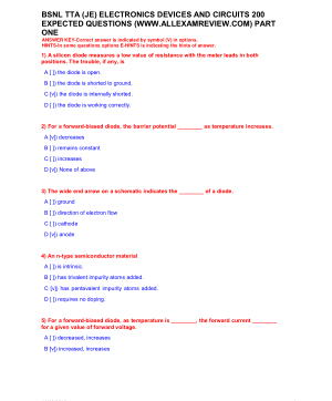 BSNL TTA (JE) ELECTRONICS DEVICES AND CIRCUITS 200 EXPECTED QUESTIONS PART ONE