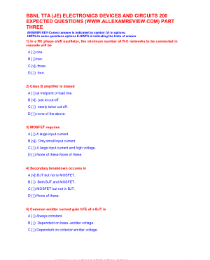 BSNL TTA (JE) ELECTRONICS DEVICES AND CIRCUITS 200 EXPECTED QUESTIONS PART THREE