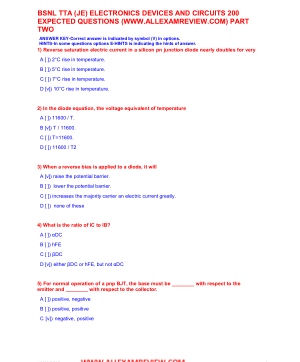 BSNL TTA (JE) ELECTRONICS DEVICES AND CIRCUITS 200 EXPECTED QUESTIONS PART TWO