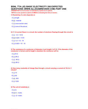 BSNL TTA (JE)BASIC ELECTRICITY 200 EXPECTED QUESTIONS PART ONE