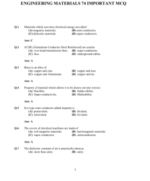 ENGINEERING MATERIALS 74 IMPORTANT MCQ