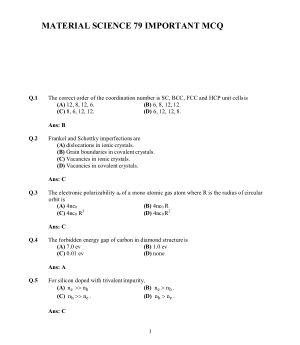 MATERIAL SCIENCE 79 IMPORTANT MCQ