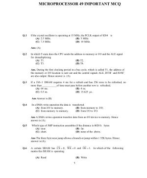 MICROPROCESSOR 49 IMPORTANT MCQ