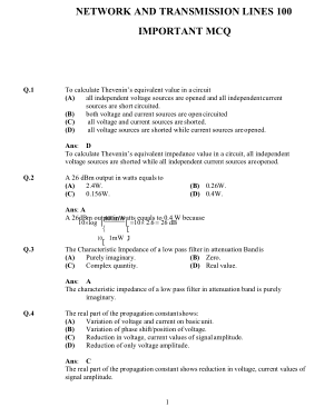 NETWORK AND TRANSMISSION LINES 100 MCQ