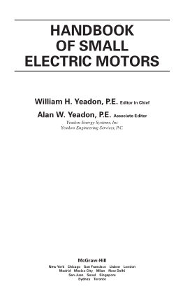 William Yeadon, Alan Yeadon – Handbook of small electric motors (2001, McGraw-Hill)