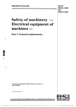 The Safety of Machinery Electrical Equipment of Machines