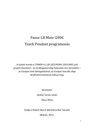 Fanuc LR Mate i200C Teach Pendant programozas