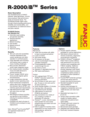 Fanuc R-2000iB Series Robot Basic Description and Specifications