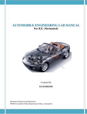 Automobile Engineering Lab Manual For B E Mechanical By D S Dabhade