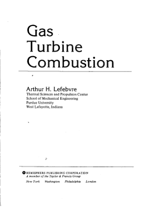Arthur Lefebvre Gas Turbine Combustion