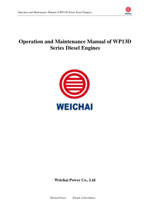 Operation and Maintenance Manual of WP13D Series Diesel Engines