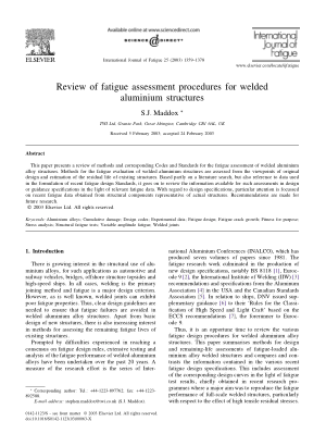 Review of fatigue assessment procedures for welded aluminium structures