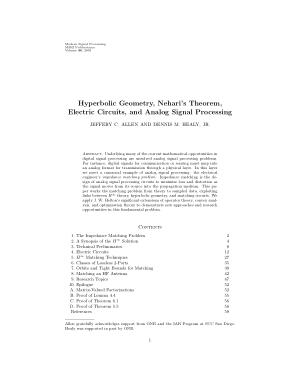 Hyperbolic Geometry Neharis Theorem Electric Circuits and Analog Signal Processing