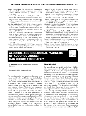 ALCOHOL AND BIOLOGICAL MARKERS OF ALCOHOL ABUSE GAS CHROMAT