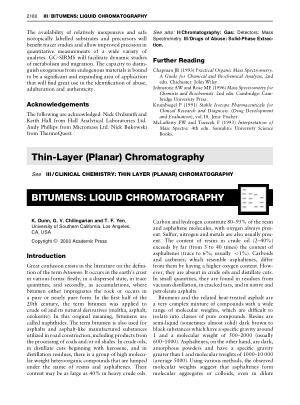 BITUMENS LIQUID CHROMATOGRAPHY