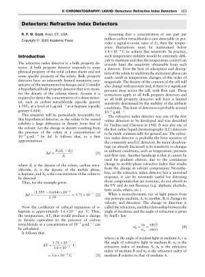 Detectors Refractive Index Detectors