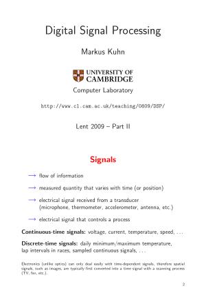Digital Signal Processing Markus Kuhn