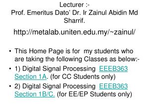 EEEB3634 Digital Signal Processing