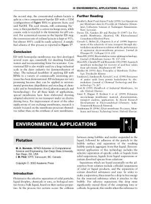 ENVIRONMENTAL APPLICATIONS Flotation