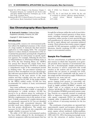 ENVIRONMENTAL APPLICATIONS Gas Chromatography Mass Spectro
