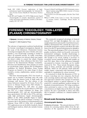 FORENSIC TOXICOLOGY THIN LAYER (PLANAR) CHROMATOGRAPHY
