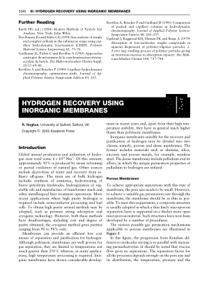 HYDROGEN RECOVERY USING INORGANIC MEMBRANES