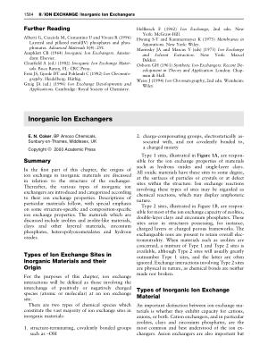 Inorganic Ion Exchangers
