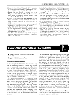 LEAD AND ZINC ORES FLOTATION