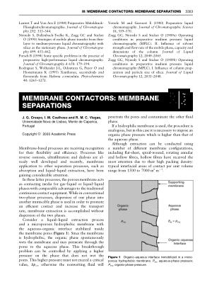 MEMBRANE CONTACTORS MEMBRANE SEPARATIONS