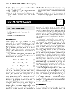METAL COMPLEXES Ion Chromatography