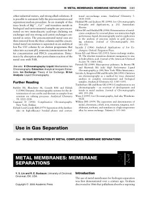 METAL MEMBRANES MEMBRANE SEPARATIONS