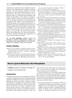 Novel Layered Materials Non Phosphates