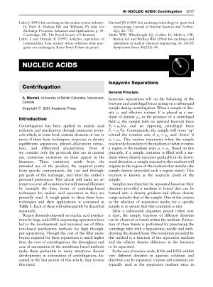 NUCLEIC ACIDS Centrifugation
