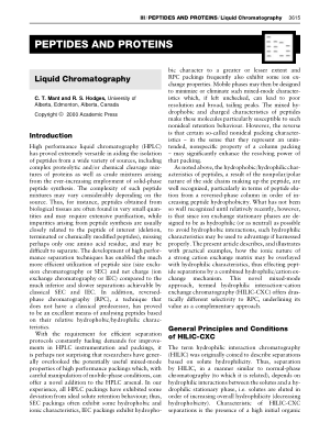 PEPTIDES AND PROTEINS Liquid Chromatography