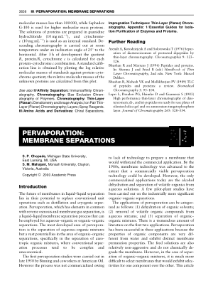 PERVAPORATION MEMBRANE SEPARATIONS