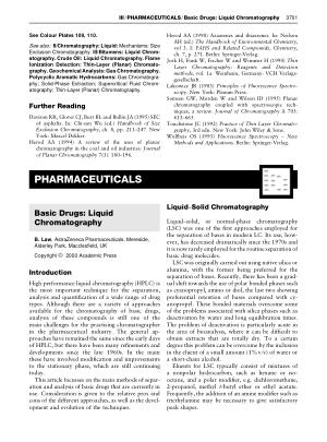PHARMACEUTICALS Basic Drugs Liquid Chromatography