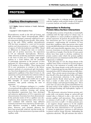 PROTEINS Capillary Electrophoresis