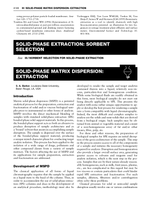 SOLID PHASE MATRIX DISPERSION EXTRACTION