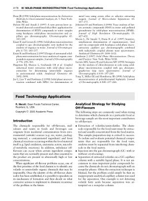 SOLID PHASE MICROEXTRACTION Food Technology Applications
