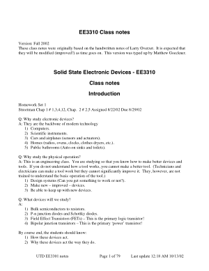 Solid State Electronic Devices EE3310 Class notes