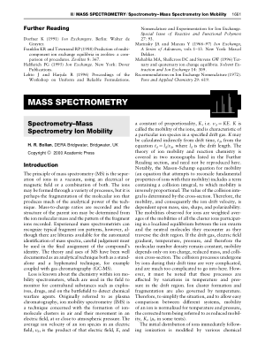 Spectrometry Mass Spectrometry Ion Mobility