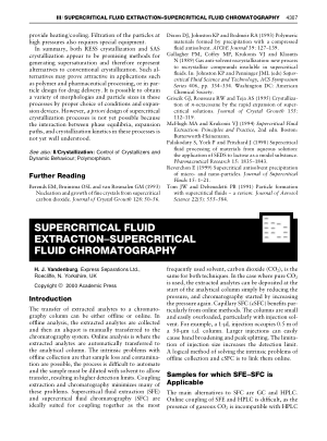 SUPERCRITICAL FLUID EXTRACTION SUPERCRITICAL FLUID CHROMATOG