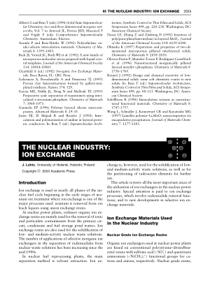 THE NUCLEAR INDUSTRY ION EXCHANGE
