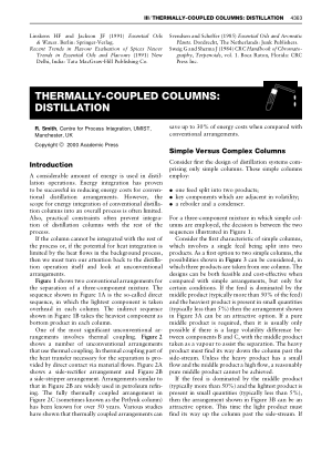 THERMALLY COUPLED COLUMNS DISTILLATION